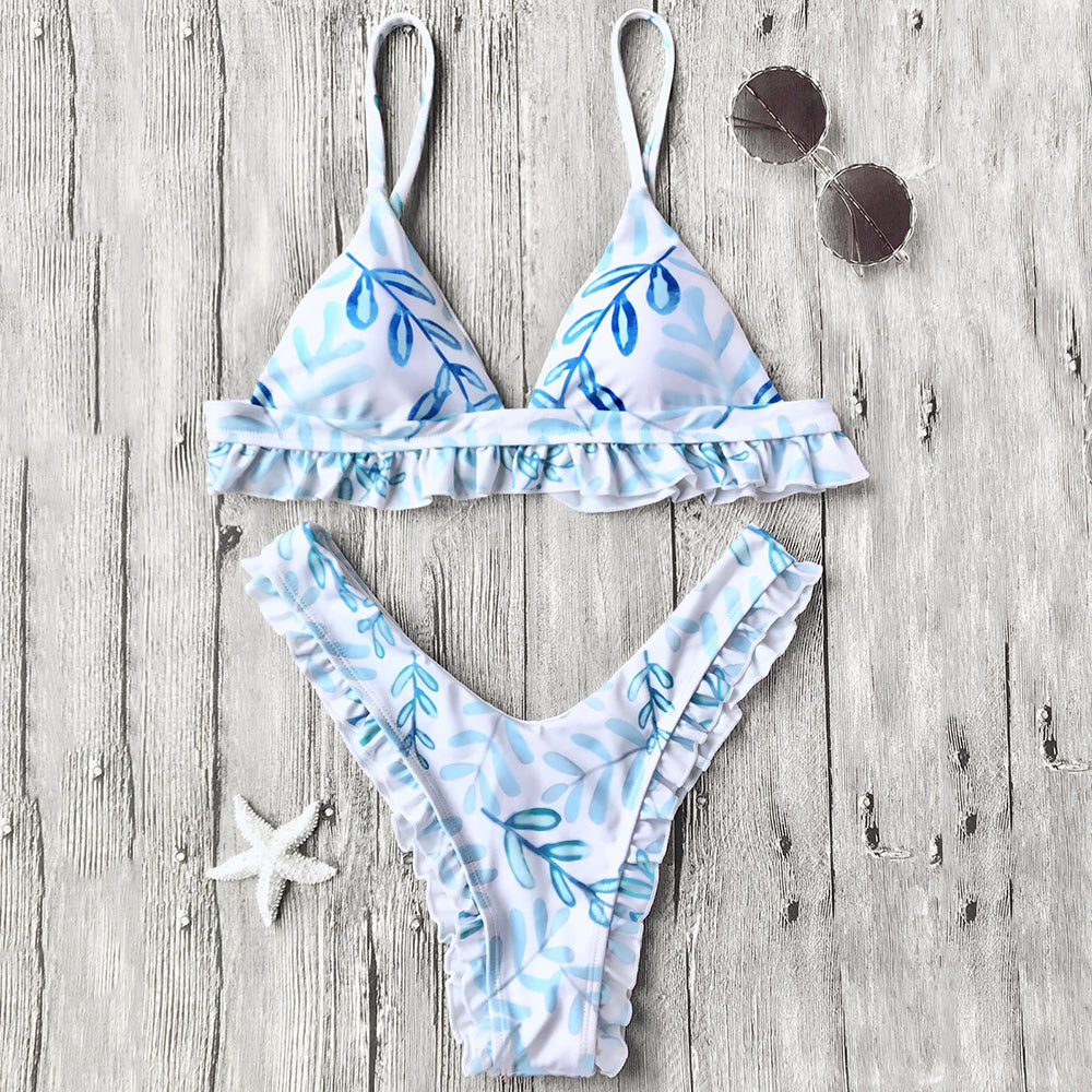 Women's Sexy Flower Print Ruffle Triangle Bikini Set