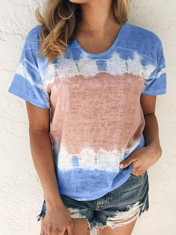 Standard Color Block Short Sleeve Loose Casual T-Shirt BS155