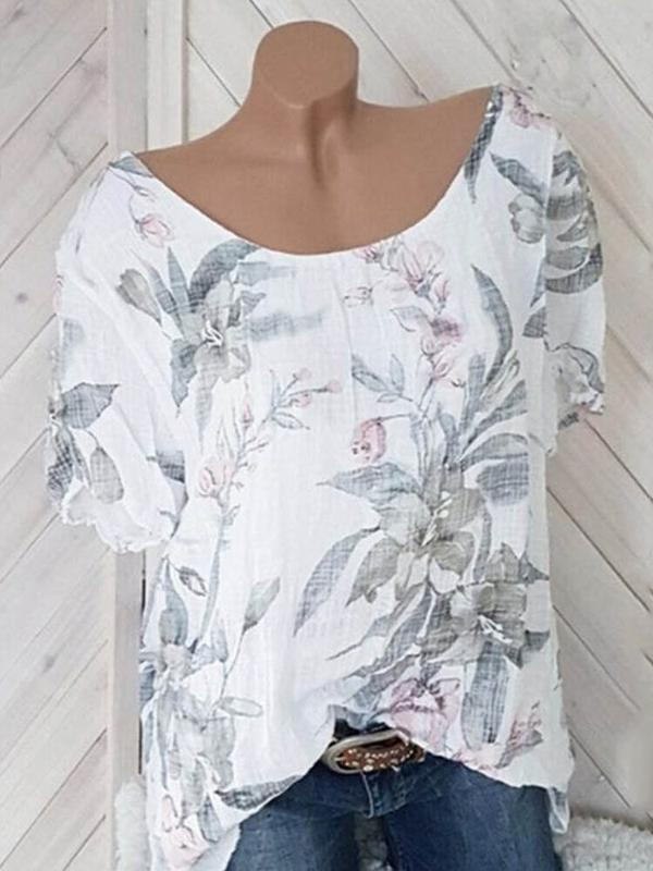 Print Plant Round Neck Mid-Length Short Sleeve Blouse BS340