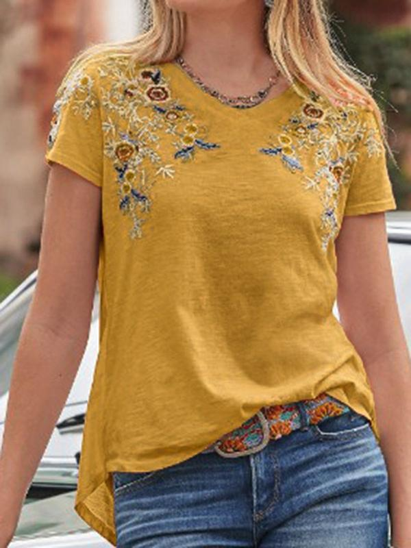 Standard Floral Short Sleeve Loose Casual T-Shirt BS183