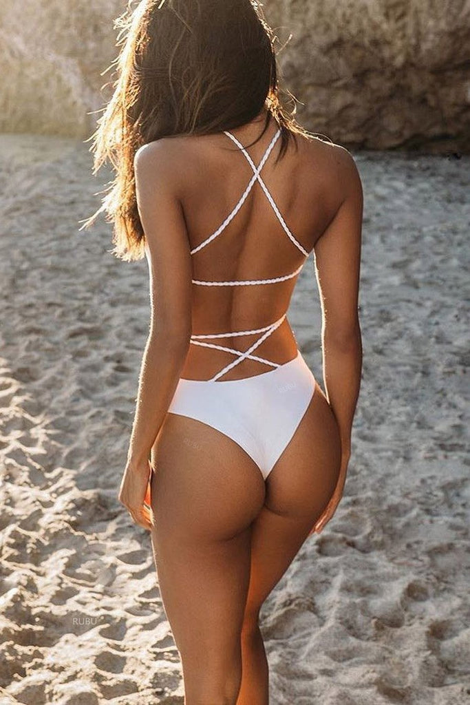 Sexy Strappy Open Back with Criss Cross One Piece Swimsuit B0053