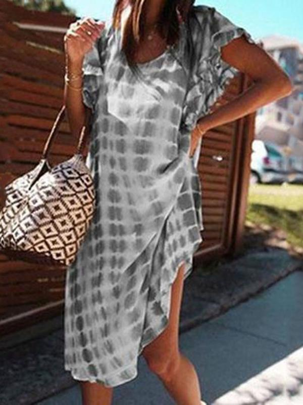Print Short Sleeve Knee-Length Pullover Casual Dress BS132
