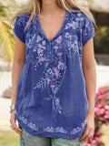Floral Embroidery Short Sleeve Mid-Length Blouse BS175