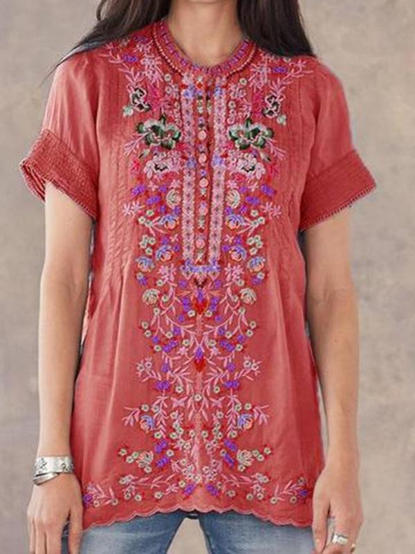 Floral Embroidery Short Sleeve Mid-Length Blouse BS219