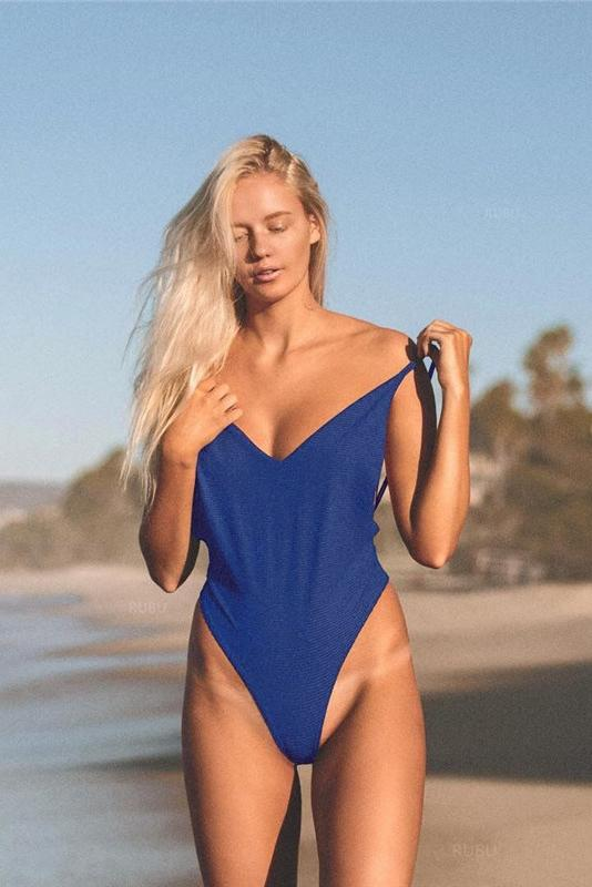 Royal Blue Low Back Plunged V High Leg Thong One Piece Swimsuit B0060