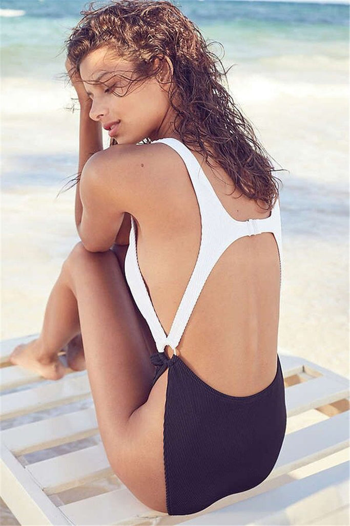 Pretty White Black High Leg Cut Scoop Neckline One-Piece Swimsuit B0056