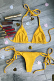 Classic Triangle Top With Tie Side Bottom Triangle Bikinis Set SW983