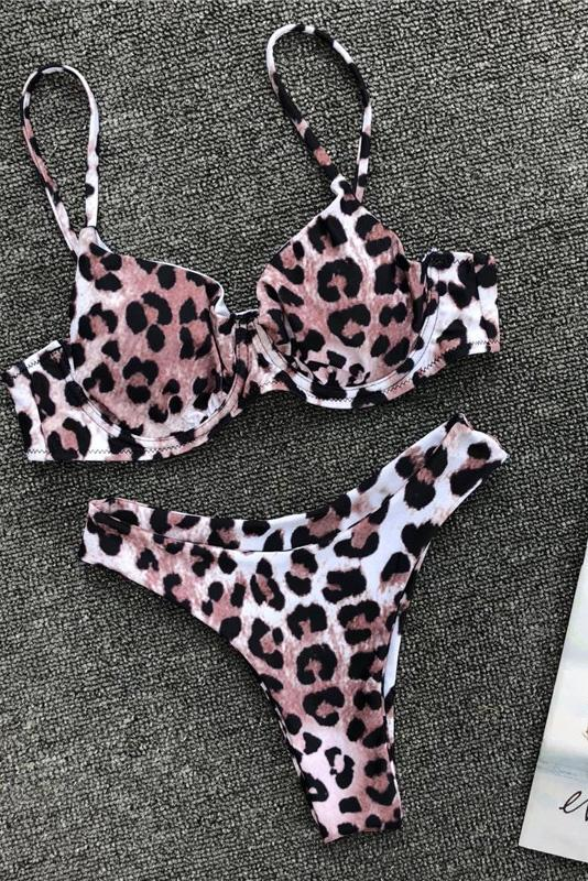 Stylish Two Piece Leopard High Leg Underwire Bra Bikini Set B0040