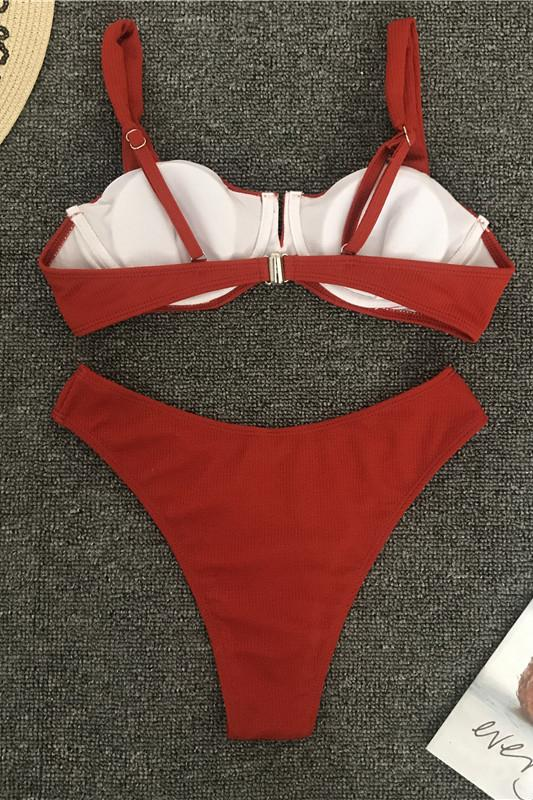 Notch Front Ribbed High Leg Underwire Two Piece Bikini Set B0043