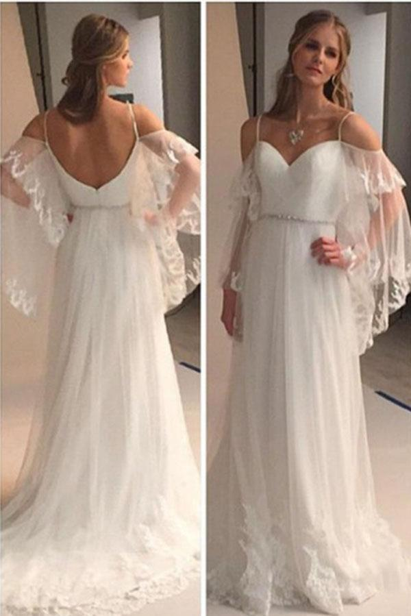 A Line Spaghetti Straps Sweetheart Lace Illusion Sleeves Backless Beach Wedding Dresses PH711