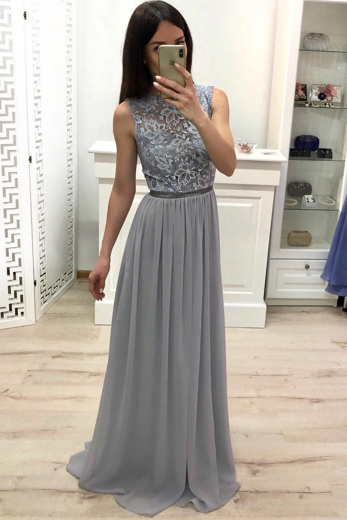 A Line Chiffon Long Prom Dresses, Cheap Sleeveless Lace Appliques Bridesmaid Dresses PW904