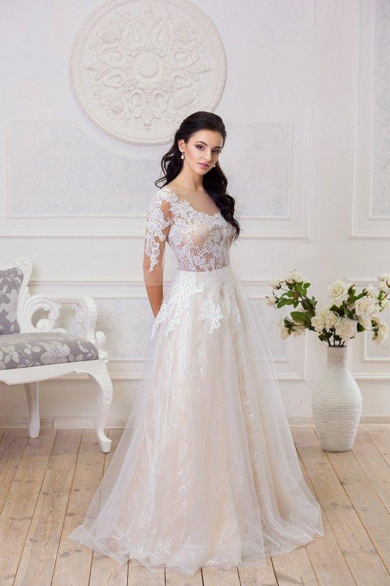 A Line Half Sleeve Lace Appliques Wedding Dresses Sweetheart Wedding Gowns PW504
