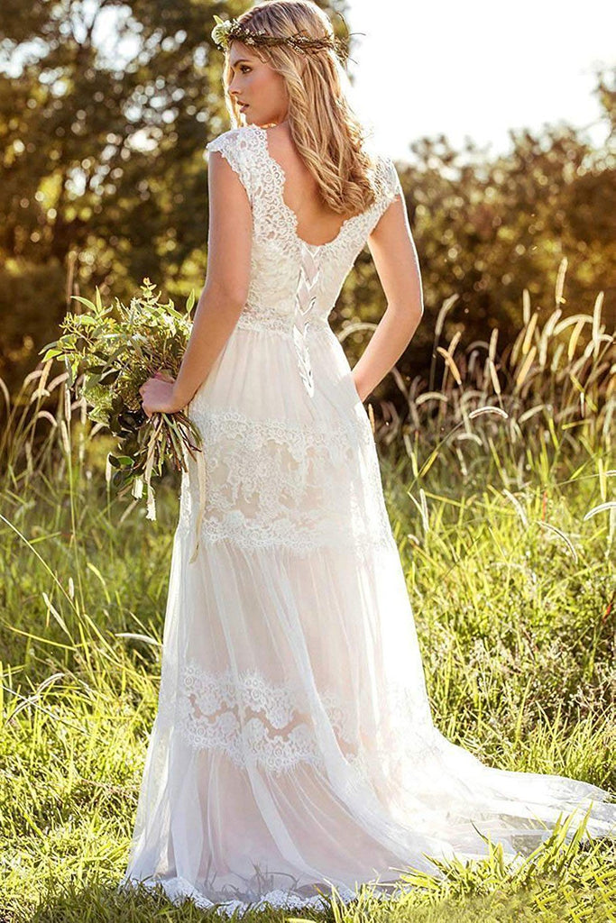 A Line Lace Straps Wedding Dresses, Ivory Backless Long Bridal Dresses PW817