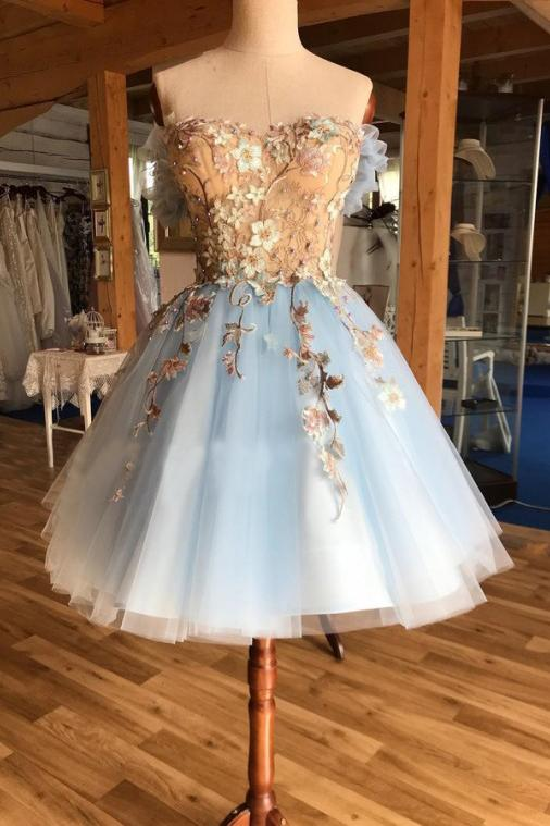 A Line Light Blue Off the Shoulder Above Knee Homecoming Prom Dress with Appliques PW939