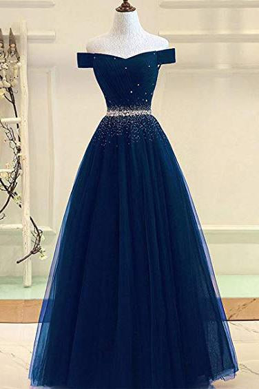 A Line Off the Shoulder Tulle Dark Blue Beads Prom Dresses Long Cheap Evening Dress PW687