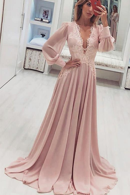 A Line V Neck Long Sleeve Pink Chiffon Prom Dress With Appliques, Long Evening Dress P1000
