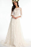 A line Bateau Half Sleeve Lace Wedding Dress With Sweep Train V Back Bridal Dress PW513