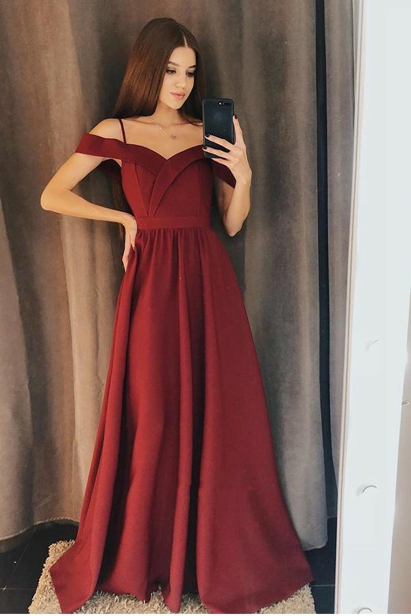 A line Burgundy Cold Shoulder Sweetheart Prom Dresses Satin Long Evening Dresses PW669