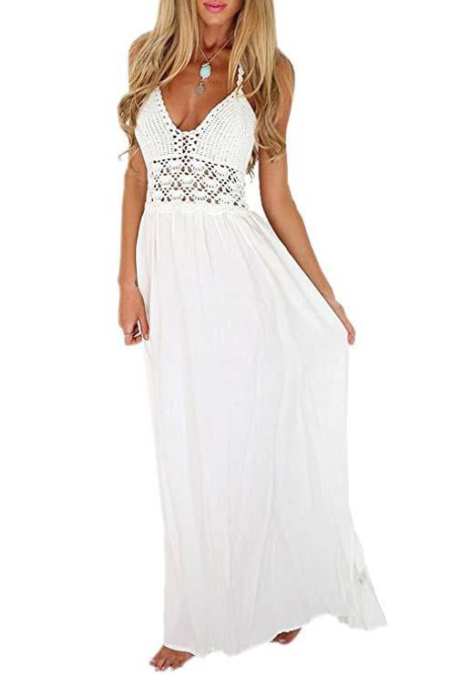 A line Chiffon V Neck Beach Wedding Dresses Backless Ivory Wedding Gowns PW506