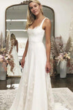 A line White Satin Wedding Dresses with Tulle Appliques Spaghetti Straps Bridal Dress PW719