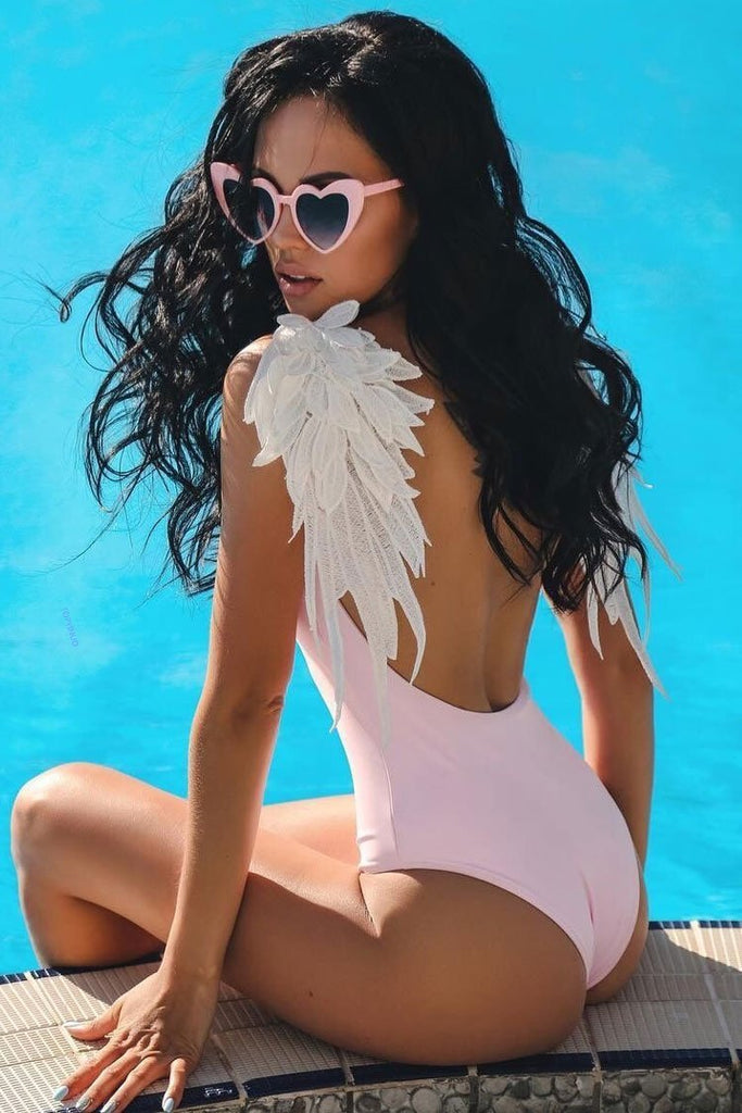One Piece Angle Wing High Leg Low Back Brazilian Swimsuit SO180