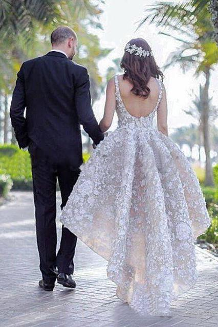 Ball Gown Lace Appliques High Low Backless Beads Wedding Dresses, Bridal Dresses PW559