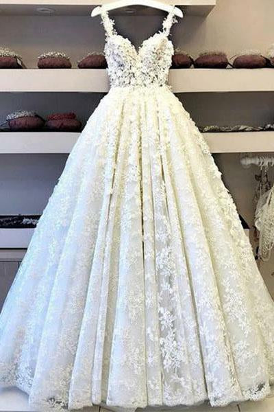Ball Gown Lace Appliques V Neck Prom Dresses, Spaghetti Straps Long Evening Dresses PW618
