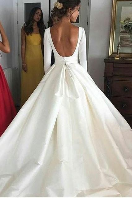 Ball Gown Long Sleeve Backless Ivory Wedding Dresses Long Cheap Bridal Dresses PW655