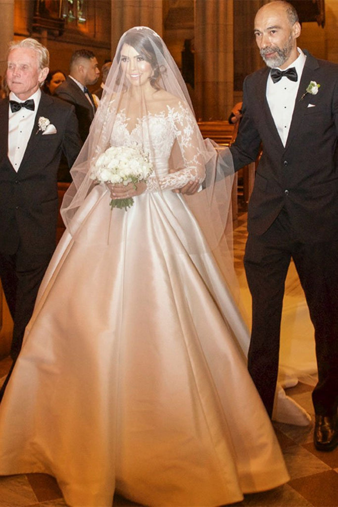 Ball Gown Long Sleeve Ivory Satin Wedding Dresses with Lace, Long Bridal Dresses PW721