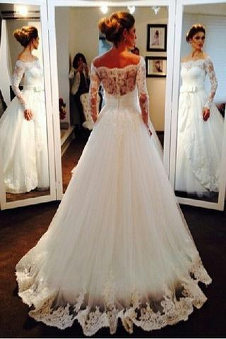 Ball Gown Long Sleeve Off the Shoulder Wedding Dresses, Lace Appliques Bridal Dresses W1034