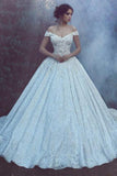 Ball Gown Off the Shoulder Sweetheart Lace Wedding Dresses, Long Bridal Dresses PW689