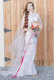 Bateau Sheath Lace Beach Wedding Dress With Appliques Open Back Bridal Dresses W1001
