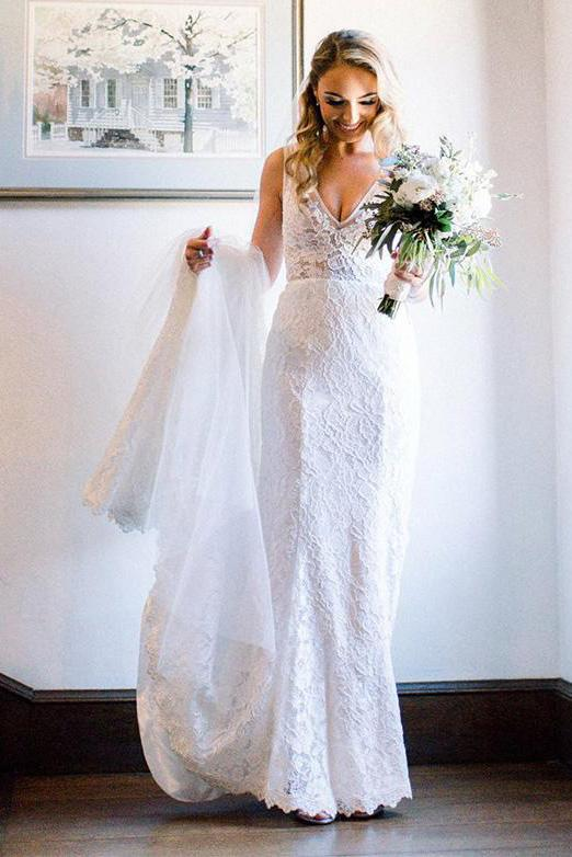 Beauty V Neck Long Lace Beach Wedding Dresses, Ivory Mermaid Backless Bridal Dress W1008