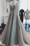 Chic A Line Silver Tulle Prom Dresses V Neck Lace Appliques Long Formal Dresses PW978