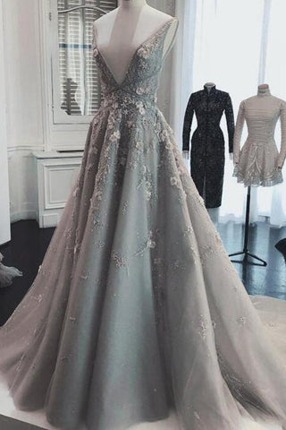 products/Chic_A_Line_Silver_Tulle_Prom_Dresses_V_Neck_Lace_Appliques_Long_Formal_Dresses_PW978.jpg