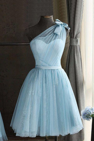 Cute Baby Blue Tulle One Shoulder Short Prom Dress, Bowknot Knee Length Party Dresses H1084