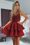 Cute Burgundy V Neck Spaghetti Straps Above Knee Short Homecoming Dresses PW762