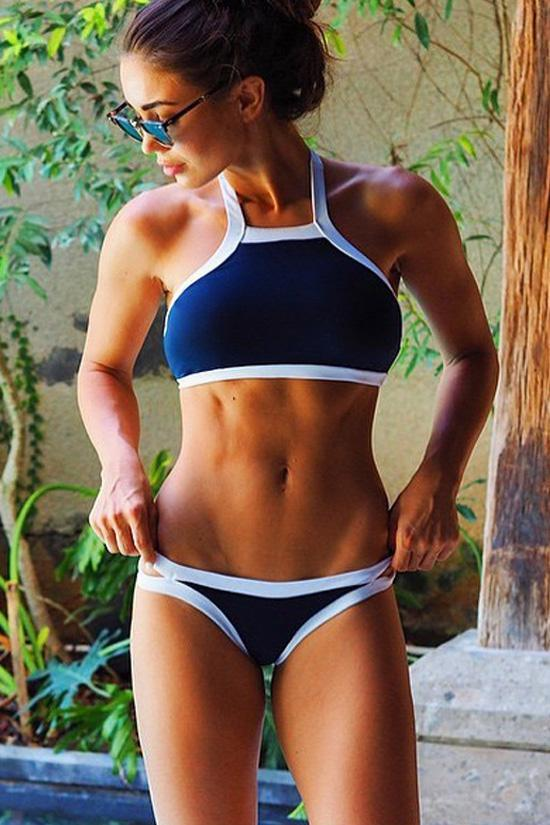 Dark Blue Sporty High Neck Summer Bikini Sets SB96