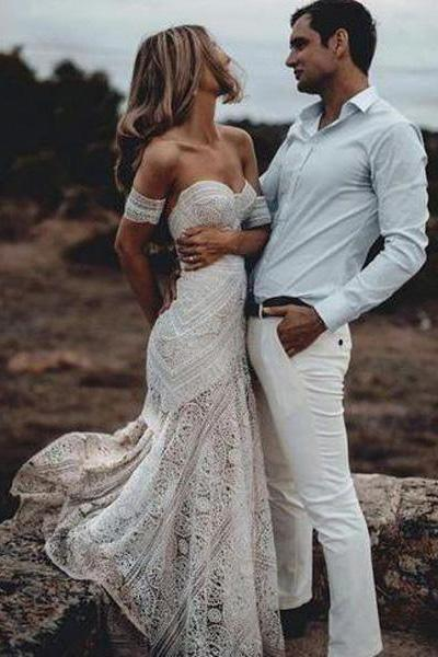 Elegant Mermaid Lace Sweetheart Beach Wedding Dresses, Boho Bridal Dresses PW614