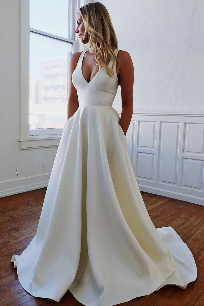 Elegant V Neck Ivory Wedding Dresses with Pockets, Open Back Satin Wedding Gowns W1030
