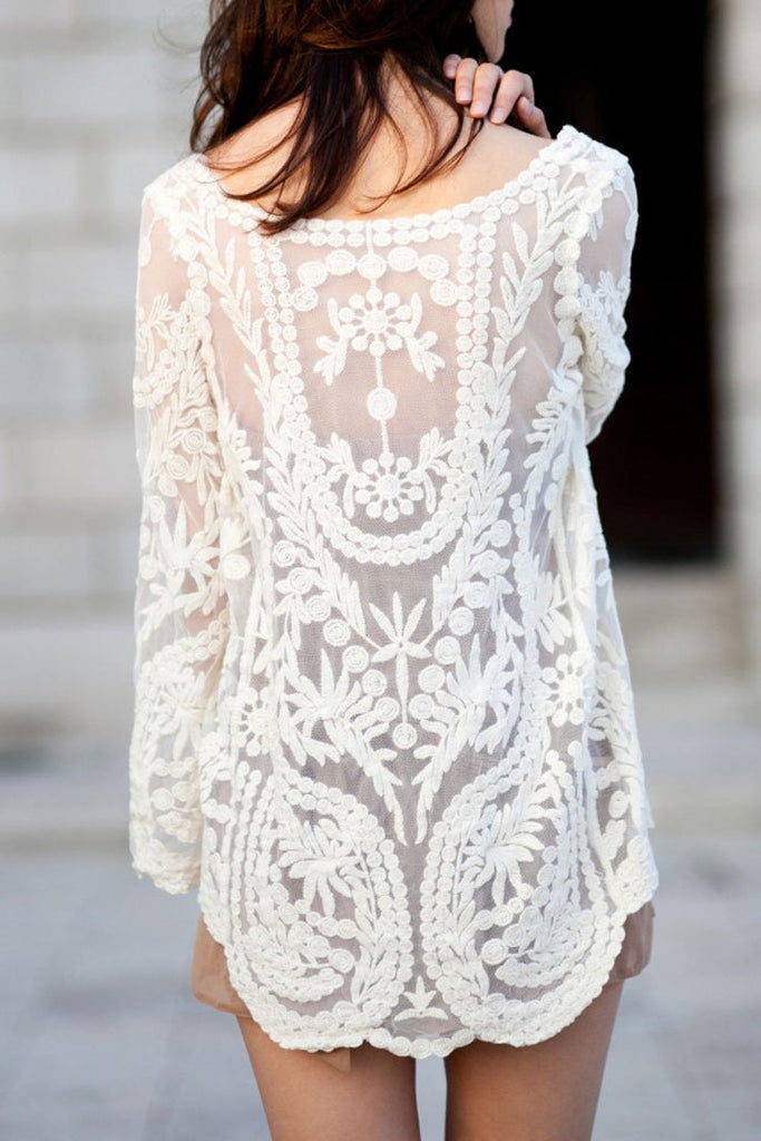 Embroidered Crochet Tunic Cover Up BS112