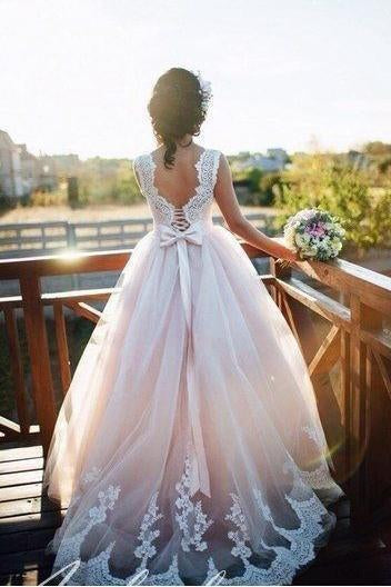 A Line Nude Tulle Ivory Lace Appliqued Ball Gown Lace up Beach Wedding Dresses uk PH918