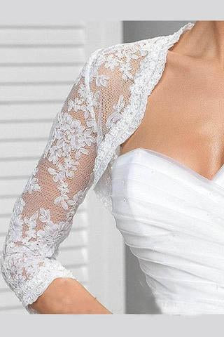 3/4 Sleeve Lace Wedding Cape White Lace Bridal Top, White Lace Wedding Jacket uk WW02