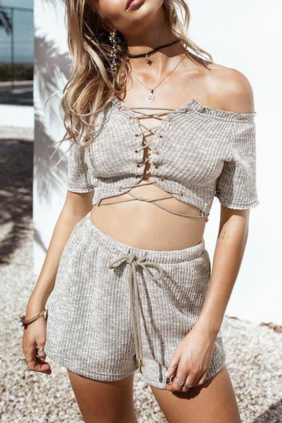 Gray Off Shoulder Crop Top with Shorts BS75