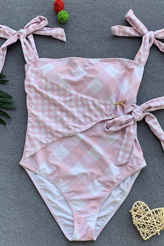 One Piece High Leg Tied Straps Gingham Swimsuit SO192