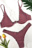 Chic High Leg Gingham Underwire Bikini Swimsuit SB262