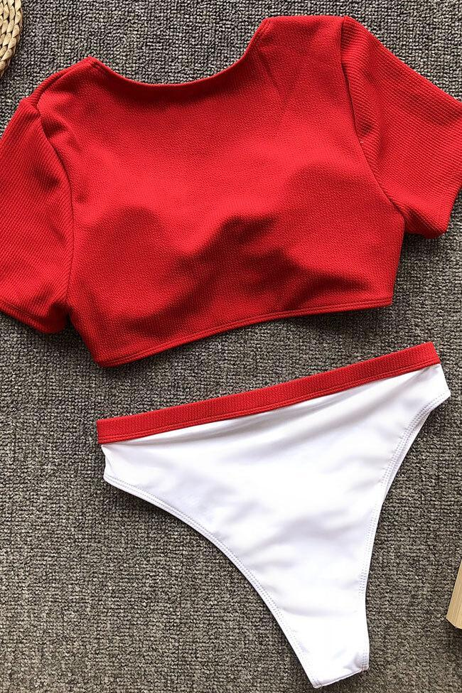 Two Piece High Waist Knotted Front Ribbed Bikini Sets SB264