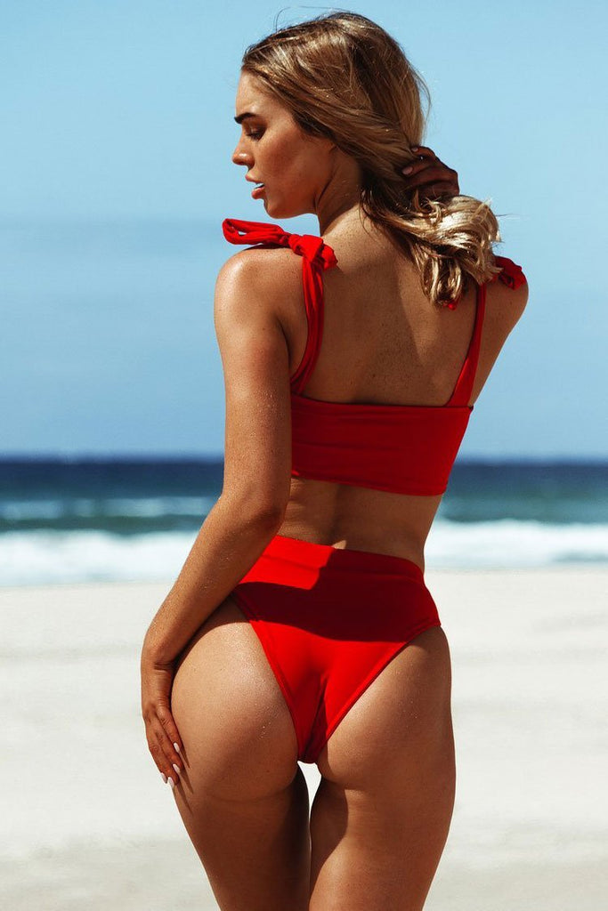 Knotted Straps Top with High Waist Two Piece Solid Bikini Set B0072