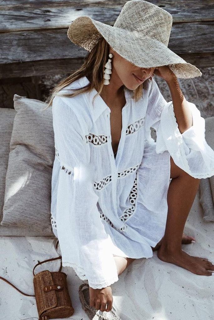 Leisure Flare Sleeve Crochet Openwork Trim Cover Up Blouse BS27