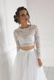 Long Sleeve Lace Round Neck Ivory Boho Wedding Dresses with Tulle, Beach Bridal Dresses W1025